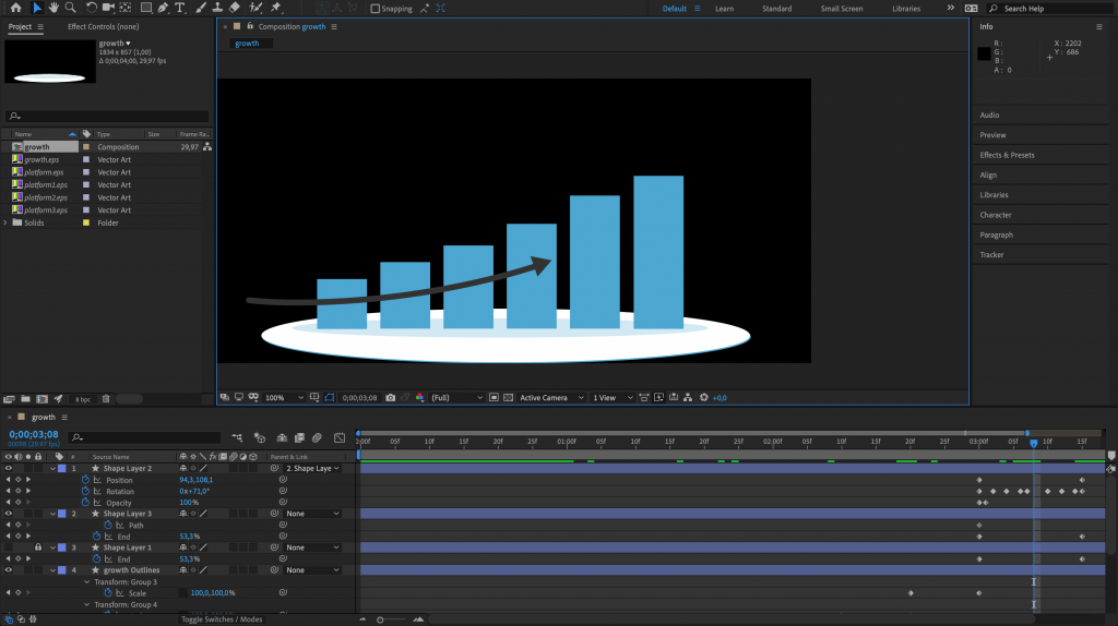 Preview After Effects vormlagen Showcase app
