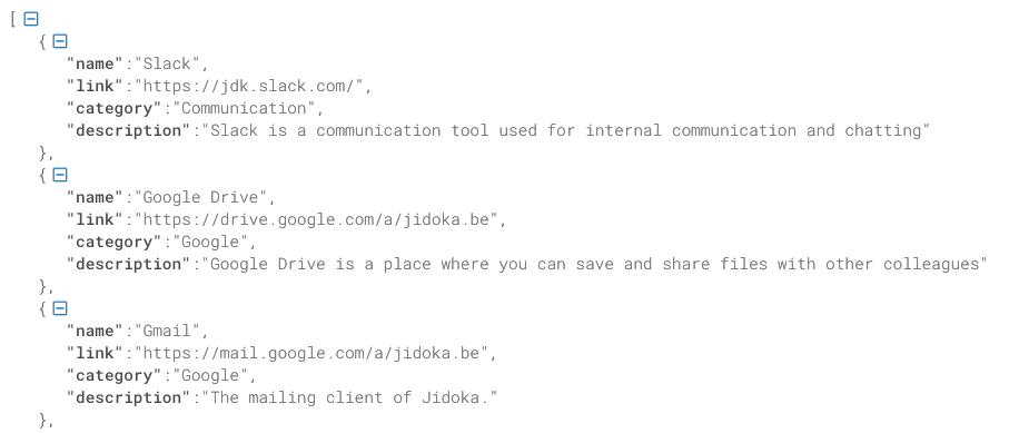 Voorbeeld verbeterde JSON array